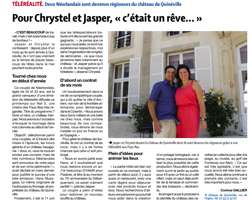 Jasper et Chrystel à l'honneur dans la Presse de la Manche